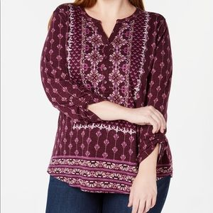 Style & Co mixed print long sleeve top